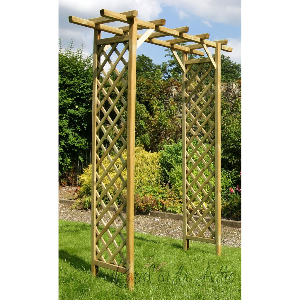 Flat Top Garden Arch With Trellis. Loading Zoom