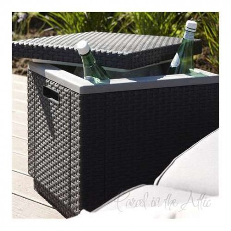Outdoor Patio Garden Rattan Cool Box Coffee Table Ice Cube Cooler Seat