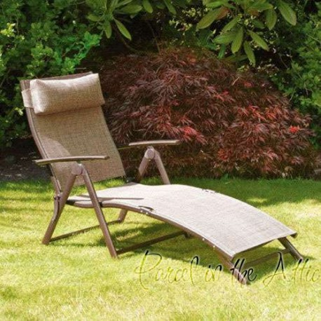 Bari Folding u0026 Reclining Sun lounger with head cushion in Bronze & Garden Reclining Sunlounger Folding Relaxer Chair Patio Sun Lounger islam-shia.org