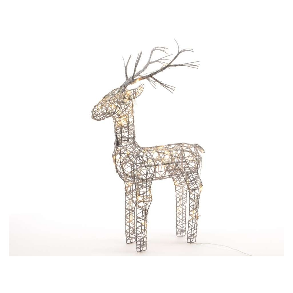 Outdoor Large Standing Reindeer Pre Lit With Warm White Leds