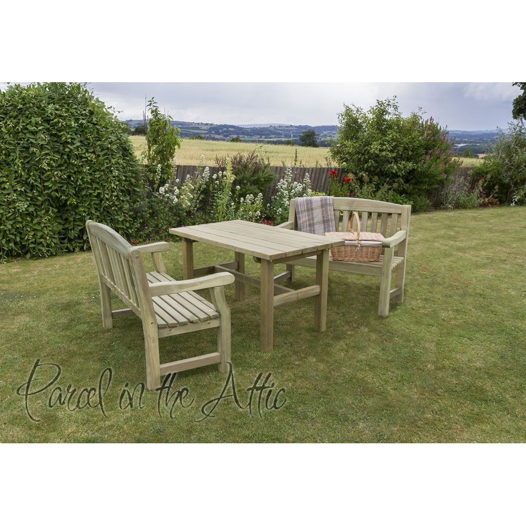 Elda Solidwood Outdoor Furniture Dining Set Table 2 Bench Set