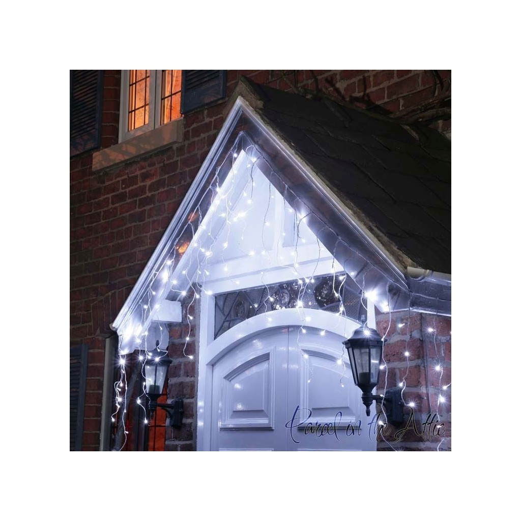 christmas icicle lights multi function 500 cool white led with white cable outdoor - Led Christmas Icicle Lights